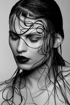 """Sacreo"" model Mariya Mezentseva by Victoria Stutz photography, hair and makeup by Chris Schild {beautiful brunette female head hair woman face portrait b+w photograph} Strands !!"