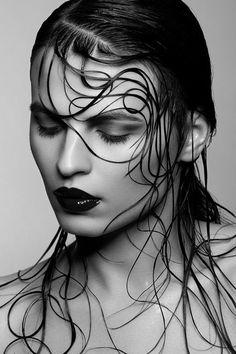"""Sacreo"" model Mariya Mezentseva by Victoria Stutz photography, hair and makeup by Chris Schild {beautiful brunette female head hair woman face portrait b+w photograph} Strands !!"