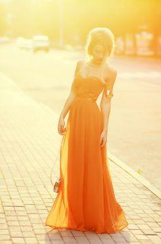I want to go to a ball!    Orange Glow (by Keidy Kelen) http://lookbook.nu/look/4020026-Orange-Glow
