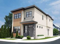 This contemporary narrow lot duplex features an open living area and three bedrooms all in a compact modern design. For multiple duplex projects, an alternate Narrow Lot House Plans, Lake House Plans, Garage House Plans, Family House Plans, Duplex House Plans, Modern House Plans, Modern House Design, Contemporary Home Plans, Modern Houses