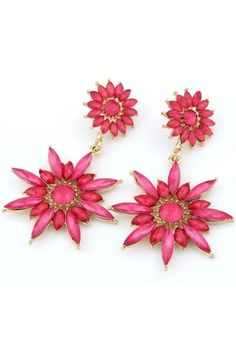 Bold Sunflower Pattern Drop Earrings