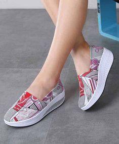 Pink art print canvas slip on rocker bottom shoe sneaker Shape Up Shoes, Shoe Boots, Shoe Bag, Pink Art, Shoe Shop, Leather Bags, Pattern Print, Hijab Fashion, Girls Shoes