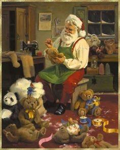 santa making teddies