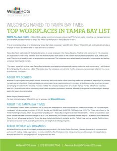 WILSONHCG NAMED TO TAMPA BAY TIMES TOP WORKPLACES IN TAMPA BAY LIST