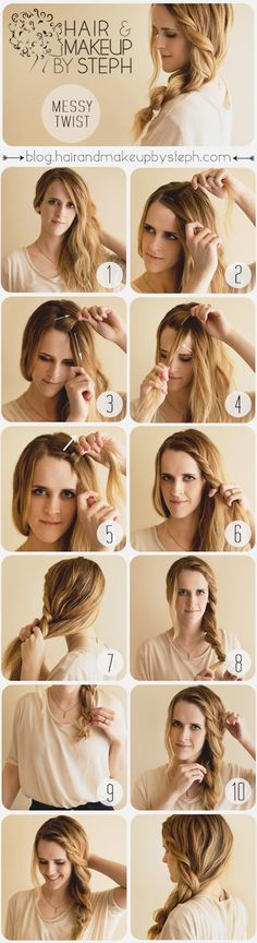 Pinner @Stephanie Close Close Close Close Close Brinkerhoff shows the Messy Twist HOW TO #Sephora #tresscode #hairstyles #hair