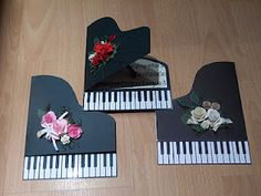 Piano Card- link to site does not work but the cards are cute! Tarjetas Diy, Shaped Cards, Handmade Birthday Cards, Cool Cards, Flower Cards, Creative Cards, Anniversary Cards, Card Templates, Scrapbook Cards