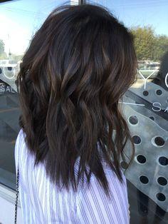 Soft deep caramel balayage on dark brown hair. Dimensional brown hair