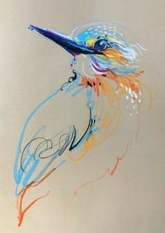 Animalines Kingfisher original lines drawing by Tilen Ti Art 3d Drawings, Animal Drawings, Pencil Drawings, Drawing Faces, Pastel Drawing, Pastel Art, Painting & Drawing, Guache, Illustration