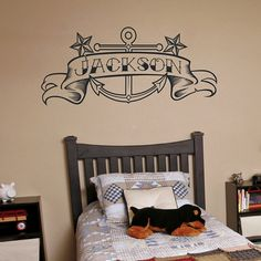 Anchor vinyl wall decal with custom banner tattoo art on Etsy, $48.00
