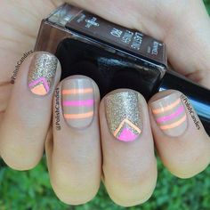 Nude, Neon & gold #nails
