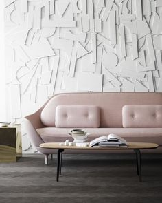 Join is a new coffee table series designed by Republic of Fritz Hansen. It comes in three different shapes, and despite its subtle and understated expression it has the ability to become the centre of life in a room. Republic of Fritz Hansen has long w Sofa Design, Furniture Design, Pastel Furniture, Furniture Ideas, Modern Furniture, Interior Flat, Room Interior, Fritz Hansen, Elle Decor