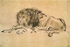 Rembrandt van Rijn - Lion Resting (pen and ink on paper)
