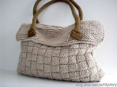 Knitted Basket Weave Bag. Use yak wool, change handles to leather