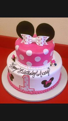 Ideas For Minnie Mouse Birthday Cake - Share this image!Save these ideas for minnie mouse birthday cake for later by share Baby First Birthday Cake, Minnie Mouse Birthday Cakes, Birthday Cake Girls, Birthday Ideas, 2nd Birthday, Bolo Minnie, Minnie Mouse Cake, Mickey Mouse Clubhouse Cake, Image Minnie