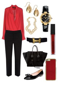 """""""Office Chic"""" by maria-isabel-dolon-insame ❤ liked on Polyvore featuring A'biddikkia, Hermès, Lisa August, Argento Vivo, Oasis, CÉLINE, Versace and Smashbox"""