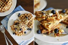 Gluten-Free Blueberry Muesli Waffles | Girl Versus Dough
