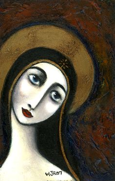 Wendy Ryan Folk Art Blog: Contemporary Folk Madonna Painting Icon.