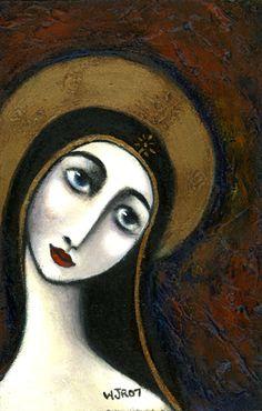 Wendy Ryan Folk Art Blog: Contemporary Folk Madonna Painting Icon.