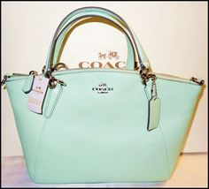 88740 Women-Handbags-and-Purses Coach Small Kelsey Leather Satchel Shoulder Bag Crossbody Seaglass Mint Green   BUY IT NOW ONLY  $149.99 Coach Small Kelsey Leather Satchel Shoulder Bag Crossbody Seaglass Mint Green ...