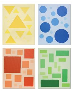 An artwork of different congruent shapes pasted onto colored paper.