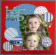 2 photo 1 page Boys Big Smiles - Two Peas in a Bucket Kids Scrapbook, Scrapbook Paper Crafts, Scrapbook Cards, Paper Crafting, Scrapbook Layout Sketches, Scrapbooking Layouts, Digital Scrapbooking, Book Design Layout, Design Design