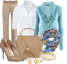 White Blouses:Ideas and Styles - Office Outfits Business Outfits, Office Outfits, Business Fashion, Casual Outfits, Fashion Outfits, Womens Fashion, Business Casual, Office Wear, Fashion Scarves