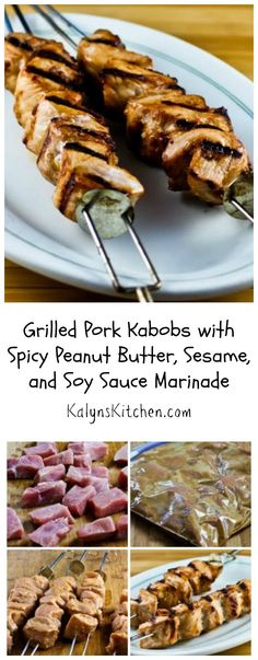 These Grilled Pork Kabobs with Spicy Peanut Butter, Sesame, and Soy Sauce Marinade are perfect for Father's Day or any summer holiday party. You can eliminate or cut down red pepper flakes to make it less spicy if you're cooking for kids. #LowCarb #GlutenFree [from KalynsKitchen.com]