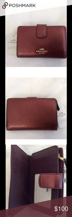 NWT COACH Metallic Cherry Corner Zip Wallet Leather with gold tone hardware. One snap closure compartment, one zip around closure compartment. Full length billfold compartment. ID window slot. Card slots and multifunction pockets. Great holiday gift! 🎁 Coach Bags Wallets