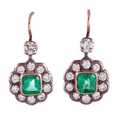 Antique Style Emerald Diamond Flower Cluster Drop Earrings  | From a unique collection of vintage dangle earrings