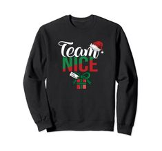 Team Nice Couple Matching Outfit With Team Naughty Sweatshirt Team Naughty Nice Matching Couples Matching Couple Outfits, Matching Couples, Amazon Christmas, Fashion Brands, Graphic Sweatshirt, Nice, Sweatshirts, Tops, Trainers
