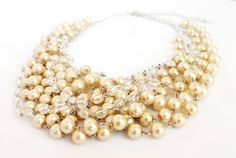 Pearl necklace ivory necklace statement necklace by NotYourMomsJewellery Bridal Necklace, Pearl Necklace, Multi Strand Necklace, Ivory, Necklaces, Pearls, Chain, Silver, Gifts