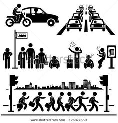 Urban City Life Metropolitan Hectic Street Traffic Busy Rush Hour People Man Stick Figure Pictogram Icon by Leremy, via Shutterstock