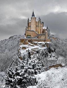 Snow in Alcázar of Segovia, Segovia, Spain