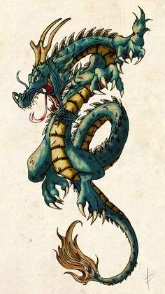 Dragon Color by neopaganos.devian… Dragon Color by neopaganos. Dragon Tea, Jade Dragon, Titanic Tattoo, Dragon Tattoo Drawing, Chinese Dragon Tattoos, Cuadros Star Wars, Dragon Illustration, Asian Tattoos, Dragon Artwork
