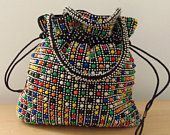 1970s Candy Dot Beaded Purse/Reversable/Boho/Hippie/Retro Accessory *Price Includes Domestic Shipping