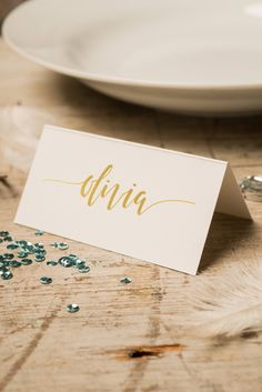 customized gold wedding name card calligraphy