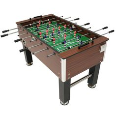 "Enjoy spending time with family and friends by adding this foosball table to your home's game room. The game table is perfect for any fan of the game and is engineered to last through countless matches. The table measures 5' L x 30"" W so there is ample space for up to 4 players. The PVC-laminated MDF field (a high-grade composite material made from recycled wood fibers and resin) stands up to aggressive play, scratches, humidity and heat. It has a classic and beautiful faux wood appearance"