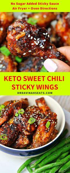 Asian Chicken Wings, Keto Chicken Wings, Chicken Wing Sauces, Chicken Chili, Asian Wings, Baked Chicken, Chicken Appetizers, Appetizer Recipes, Dinner Recipes