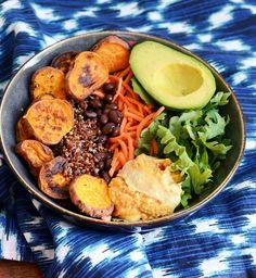 buddha bowl patate douce haricots rouges carotte salade avocat