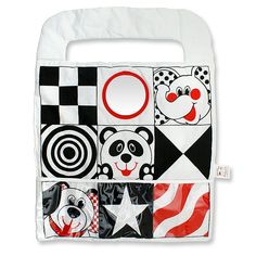 Brilliant Beginnings Car Activity Center by Genius Baby Toys. Babies up to six months respond best to visual black and white. This reversible Bright Starts Car Activity Center features: bright black, white and red, Bold graphics with friendly faces, geometric patterns, A baby-safe mirror, and vinyl pockets