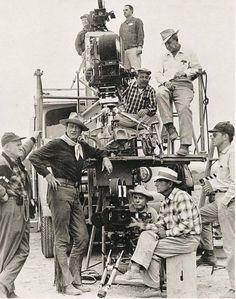 John Wayne & film crew in Brackettville for the filming of the Alamo, 1959