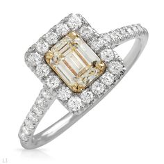 CERTIFIED by EGL Elegant Ring with 1.17 CTW Super Clean GH/VS and Fancy Yellow Diamonds Made of 18K Gold Size 6.5