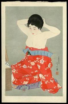 Torii Kotondo: Make-up (At the Mirror) — 化粧 - Japanese Art Open Database