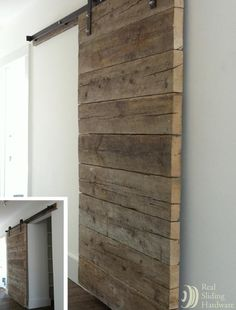 Barn doors can be a great addition to a room — whether you're replacing an existing standard door, creating privacy where there's only a doorway or simply adding some architectural charm. Real Sliding Hardware sells barn door kits, complete with door, as well as individual hardware and accessories.
