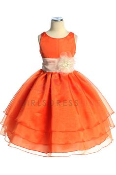 2653f0fcefa Click to enlarge   Orange Organza Simple Layered Flower Girl Dress with  Sash Flower Girls