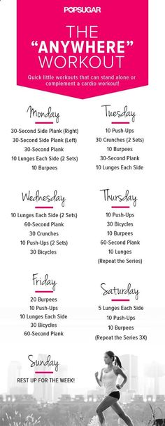 No matter where you are, heres a workout for everyday of the week.