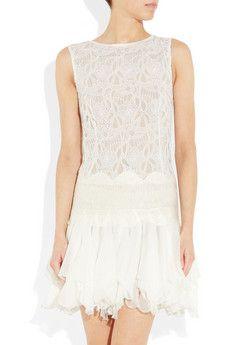 Jay Ahr, Lace and ruffled silk-gauze mini dress