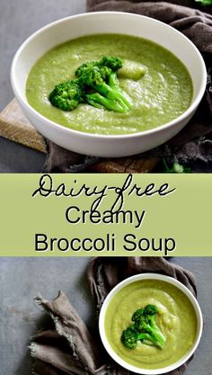 Creamy Broccoli Soup made dairyfree This is a quick and healthy side or main dish with a vegan option Blender soup broccoli soup dairy free soup paleo soup via cleaneati. Broccoli Potato Soup, Broccoli Soup Recipes, Cream Of Broccoli Soup, Healthy Soup Recipes, Real Food Recipes, Paleo Soup, Healthy Broccoli Soup, Vitamix Soup Recipes, Blended Soup Recipes