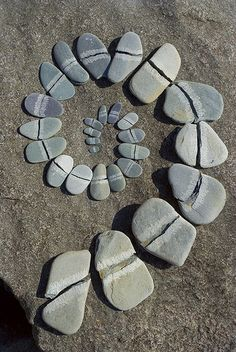 """An homage to Andy Goldsworthy. I (Prev. Pinner) made this spiral by splitting slate pebbles with a rock & laying them out on a slab on the shore of Loch Lomond in Scotland. Andy Goldsworthy's original design of a split pebble spiral is on the cover of his fantastic book """"Andy Goldsworthy - A collaboration with nature"""""""