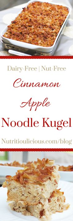 Cinnamon Apple Noodle Kugel is a sweet and comforting side dish traditionally served at Jewish holiday meals. Also known as noodle pudding or noodle casserole, this kugel can also be enjoyed for a sweet weekend breakfast. This version is a dairy-free, nut-free lightened up version of the classic. Get the recipe @jlevinsonrd.